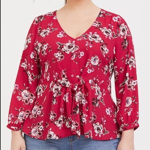 Torrid red floral blouse